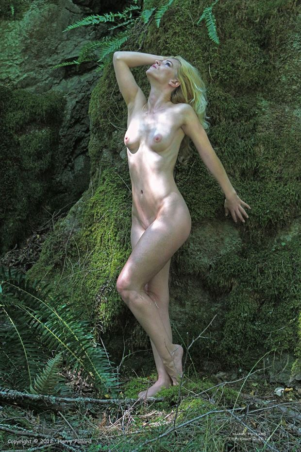 liz against wall of moss artistic nude photo by photographer shootist