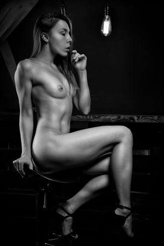 lonely bar visit in corona times artistic nude artwork by photographer j%C3%BCrgen weis