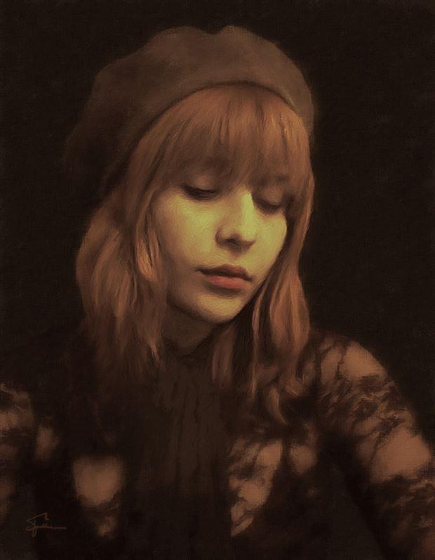 marci brown portrait chiaroscuro artwork by artist van evan fuller