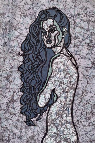 mermaid hair artistic nude artwork by artist kevin houchin