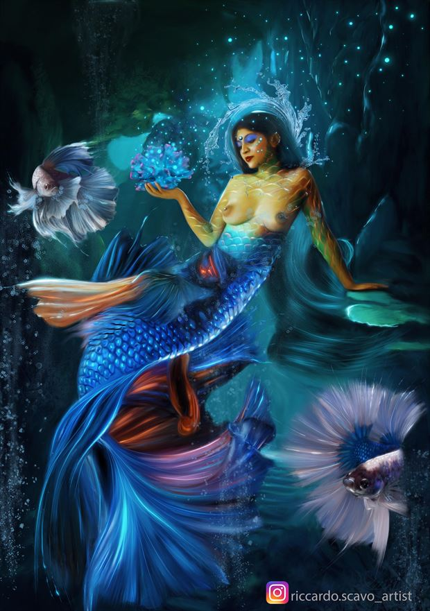 mermaid surreal artwork by artist riccardo scavo