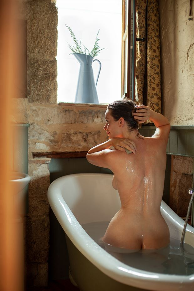 morning bath artistic nude photo by model muse