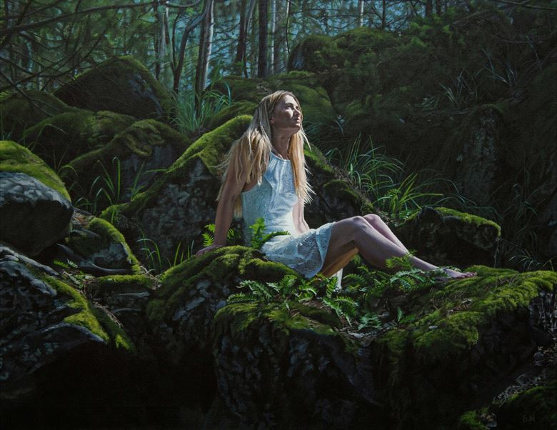 mossy stones nature artwork by artist bjornn