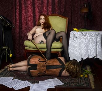 music hath charms to soothe the savage breast artistic nude photo by photographer david lintz