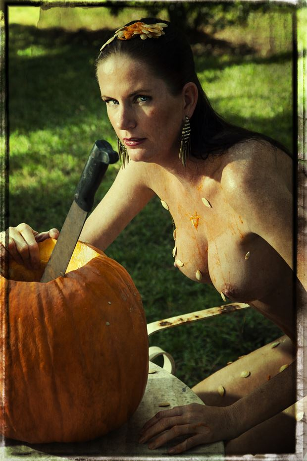 naked pumpkin carving artistic nude photo by photographer dpaphoto