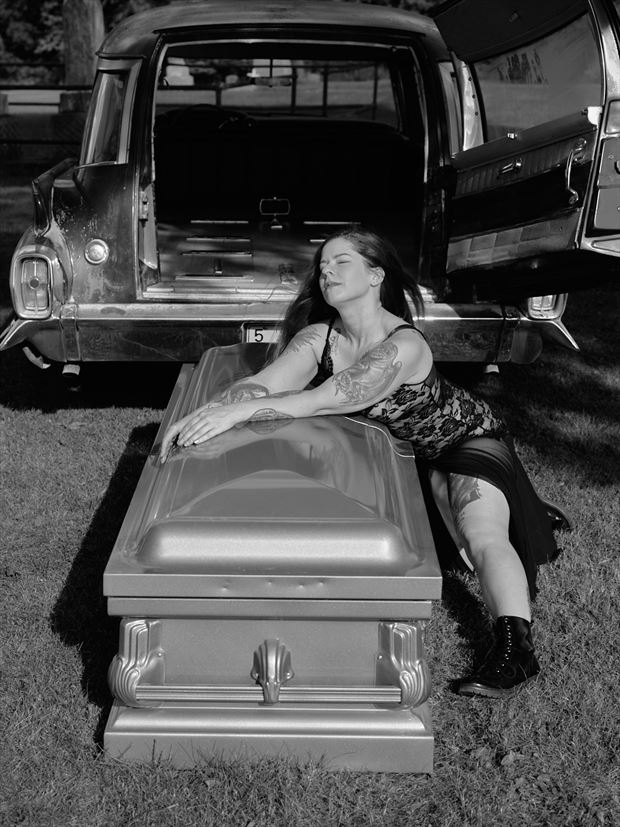 nicole and the 62 caddy hearse iii fantasy photo by photographer avant garde_art