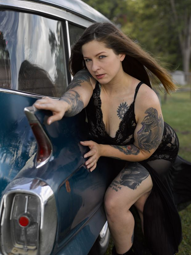 nicole and the 62 caddy hearse iv cosplay photo by photographer avant garde_art