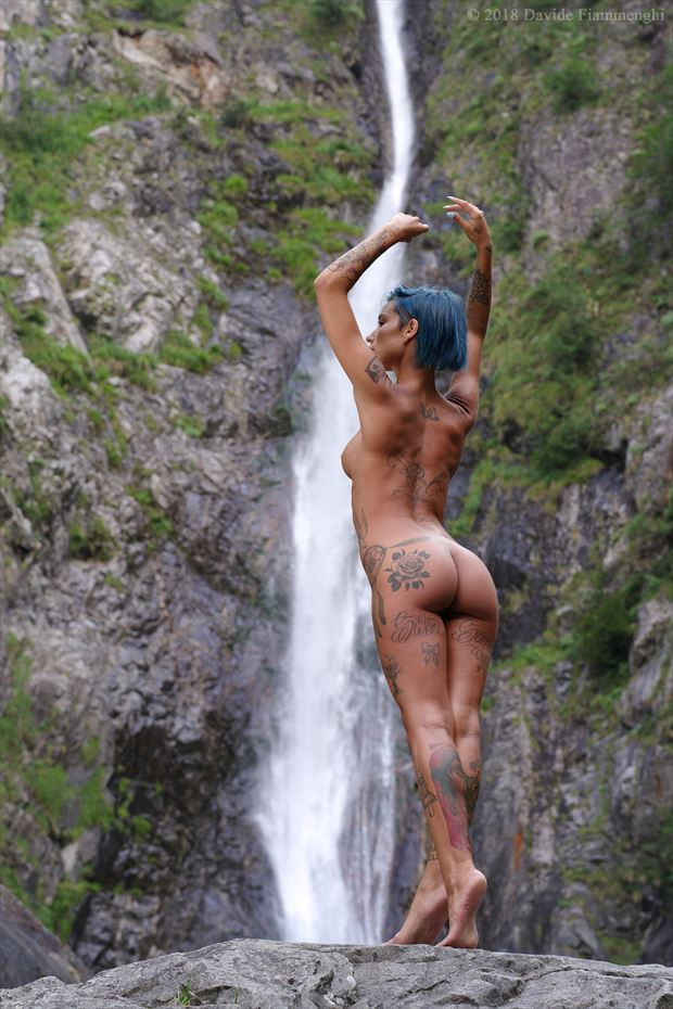 nude at the waterfall tattoos photo by photographer davide fiammenghi