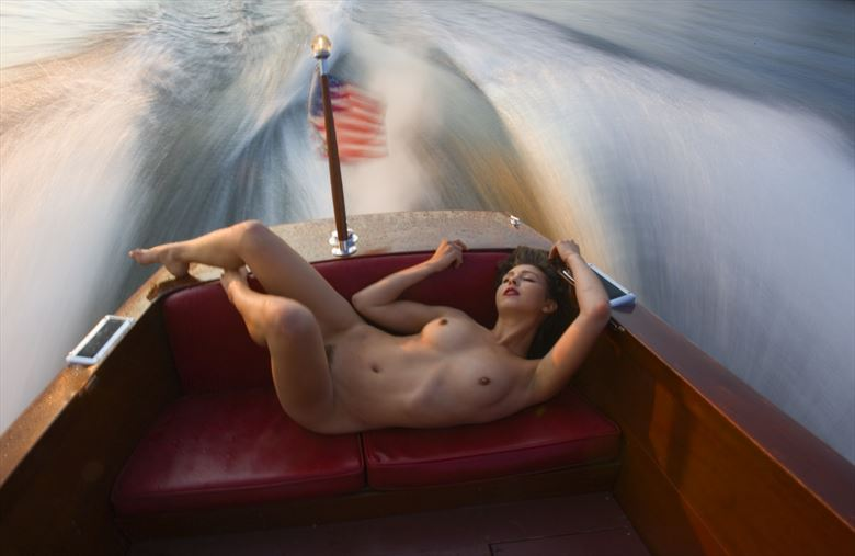 nude in old chris craft high speed artistic nude photo by photographer bradmiller
