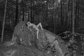 nude on a boulder artistic nude photo by model dylan fox