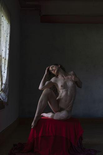 nude on red artistic nude photo by artist wendy garfinkel