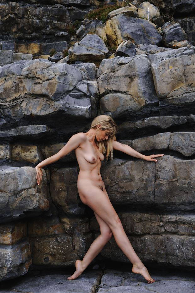 on the rocks artistic nude photo by model selkie
