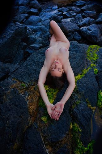 on the rocks artistic nude photo by model shann