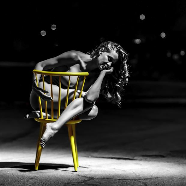 one yellow chair iii artistic nude artwork by photographer photo kubitza