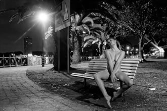 park bench at night artistic nude photo by photographer stephen wong