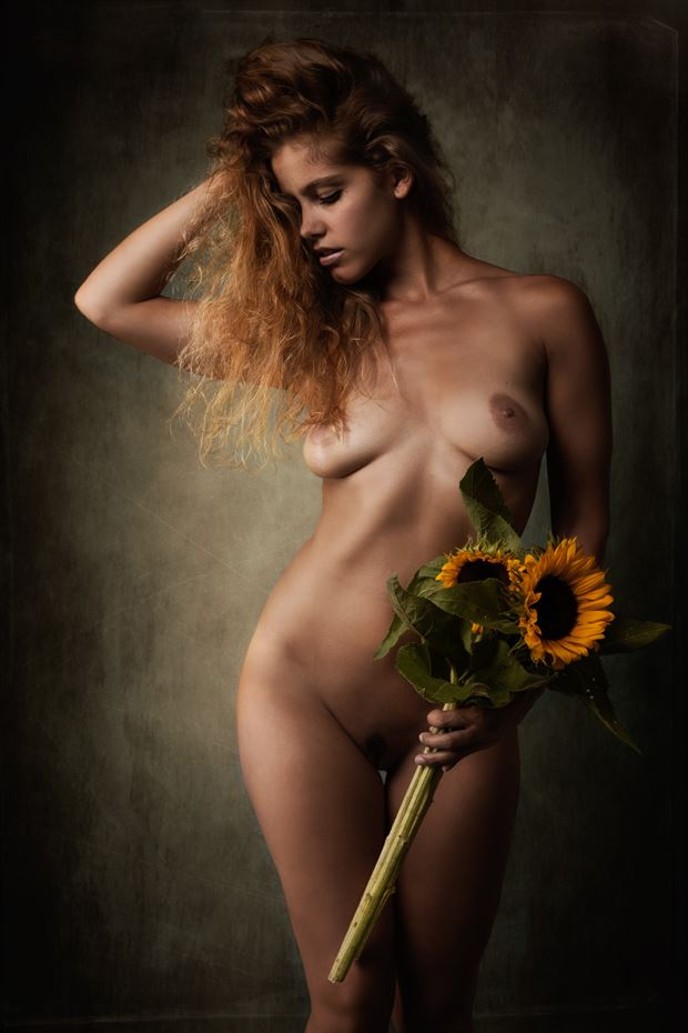 paula with sunflower artistic nude photo by photographer chris h