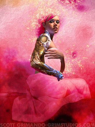 pink droid surreal artwork by artist scott grimando