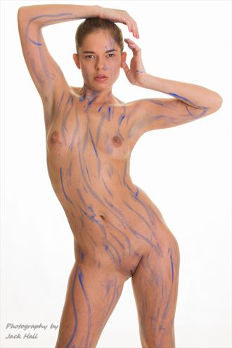 playing with a paint stick artistic nude photo by photographer jack hall