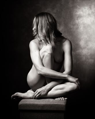 poised as a statue artistic nude photo by model alexandra queen