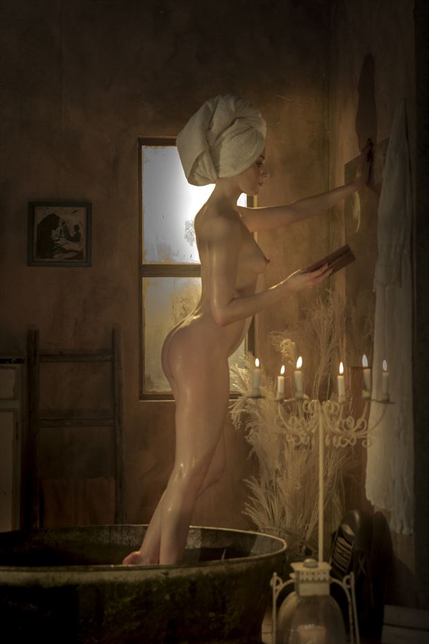 reading the french way artistic nude photo by model madelainee