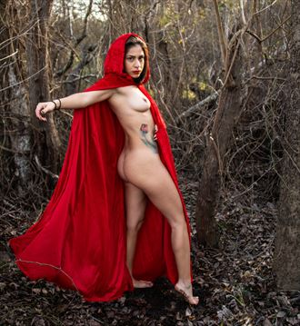rebecca in a red cape artistic nude artwork by photographer vaderkip