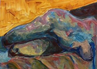 reclined artistic nude artwork by artist chris j hodge
