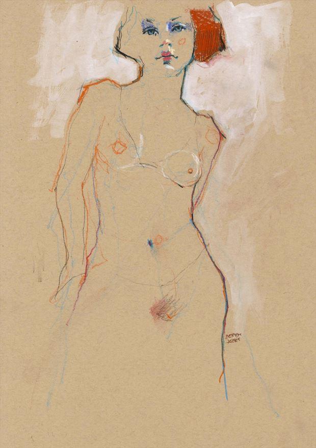 red artistic nude artwork by artist jond