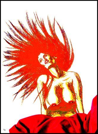 red artistic nude artwork by artist subhankar biswas