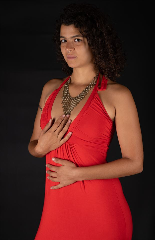 red dress and necklace fashion artwork by photographer gsphotoguy