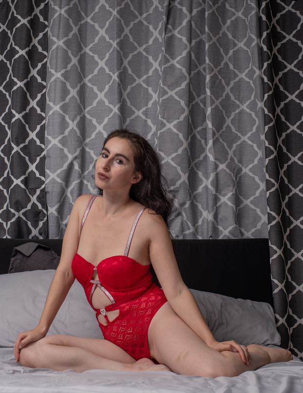 red lingerie on bed lingerie artwork by photographer gsphotoguy