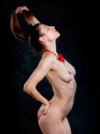 red necklace artistic nude photo by photographer paul mason