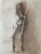 red sonja holding spear artistic nude artwork by artist edoism