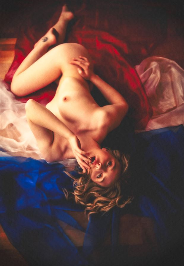 red white blue artistic nude artwork by photographer neilh
