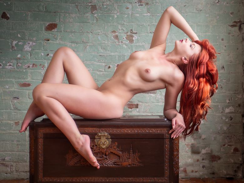 redhead reclined artistic nude photo by photographer paul mason