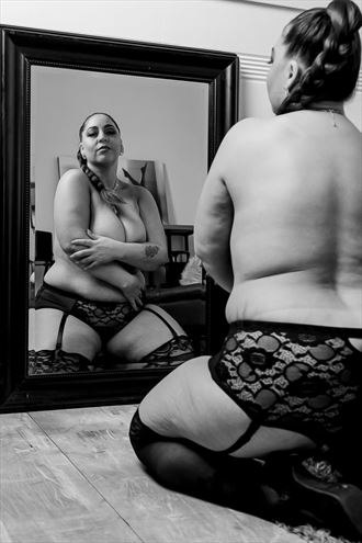 reflective acceptance lingerie photo by model nicole marie