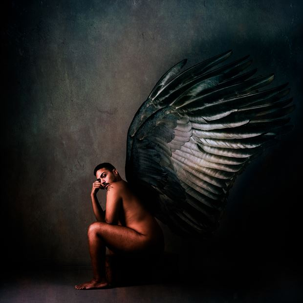 rolando winged seated artistic nude photo by photographer doc list