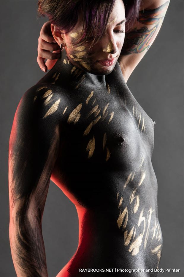 sarahy f black gold artistic nude photo by photographer ray brooks