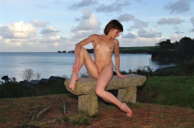 sea stone and sunset artistic nude photo by photographer russb