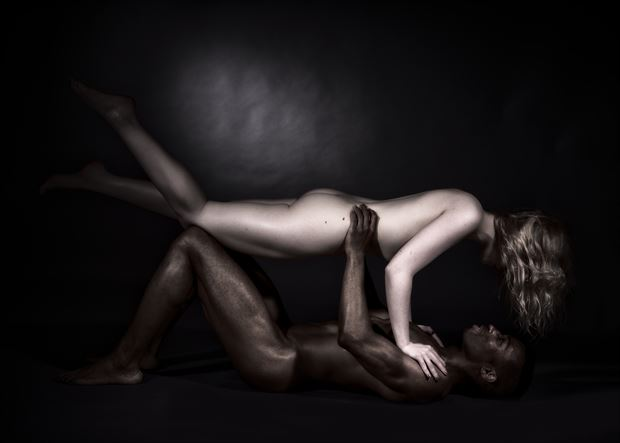 shades of black and white human suspension artistic nude photo by model matriix