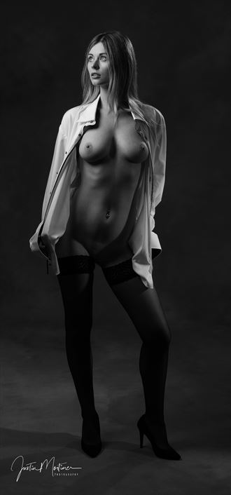 shirt stockings artistic nude artwork by photographer justin mortimer