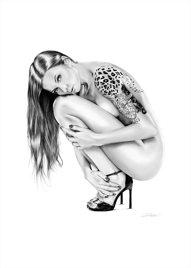 shy kitty artistic nude artwork by artist dirk richter