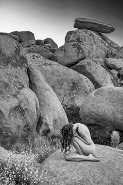 sienna beneath tipping rock artistic nude photo by photographer philip turner