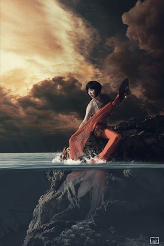 siren in red surreal photo by artist jay dub