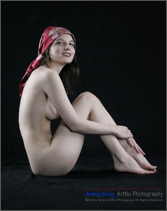 sitting nude with scarf artistic nude photo by photographer andriy siniy