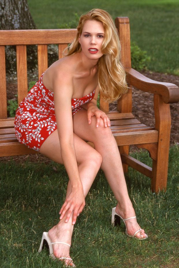sitting on a bench glamour photo by photographer glamour by richmond