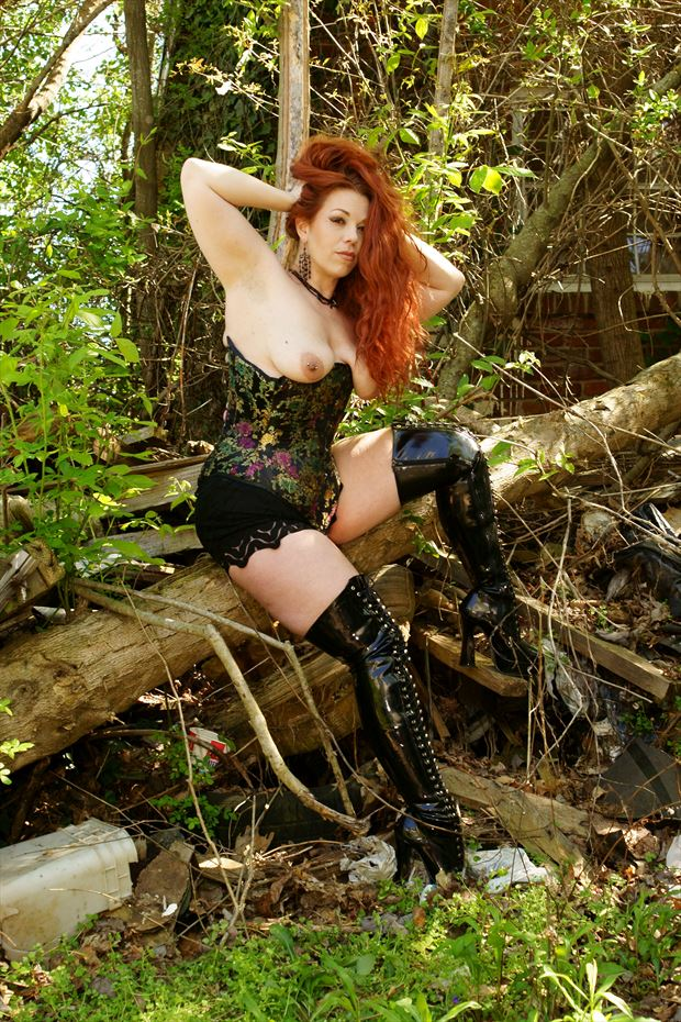 sitting on a tree trunk lingerie photo by photographer csdewittphotography