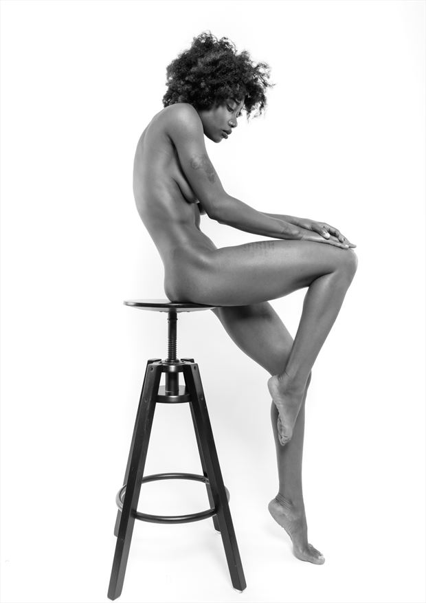 sitting on chair artistic nude photo by photographer bo michal