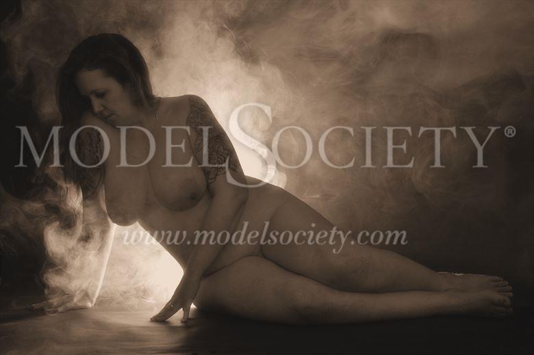 smoky artistic nude artwork by model charlie morgan