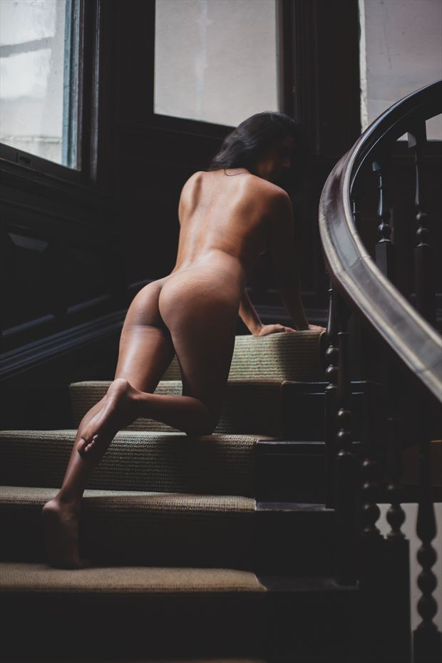 stairway darkness artistic nude artwork by model shortyy