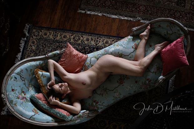 stephanie on the chaise artistic nude photo by photographer john matthews